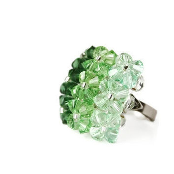 Cocktail Ring. Swarovski Beaded Adjustable Ring in Shades of Green. Ombre. Ready to Ship.
