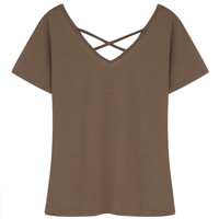 Brown V-neck Cross Strap Short Sleeve -shirt