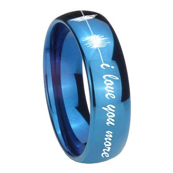 8MM Glossy Blue Dome Sound Wave i love you more more Tungsten Carbide Laser Engraved Ring