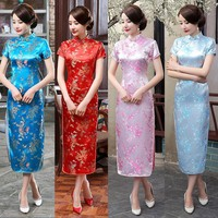 Blue, Red, Pink, Light Blue Floral Collection Cheongsam One-piece Chinese Qipao Dress