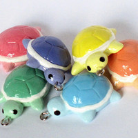 Rainbow Turtle Charm Set by MochiRabbitCharms on Etsy