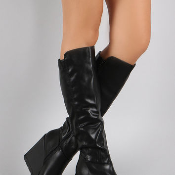 Panel High Shaft Wedge Boots