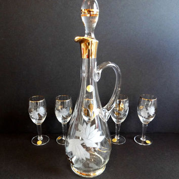 Vintage Romanian Crystal Decanter and 5 Glasses Set with Etching, Gold and Original Labels, Formal Dining, Mid Century Barware, Wedding Gift