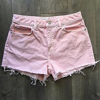 Vintage High Waisted Pink Jean Shorts Size 8