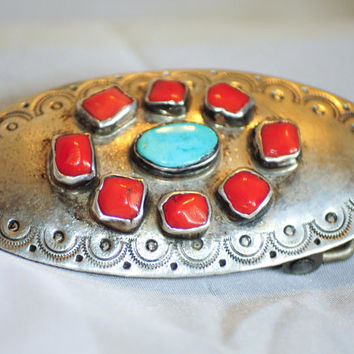 8 Cabochon Red coral and Single Cabochon Turquoise Sterling Native American Buckle