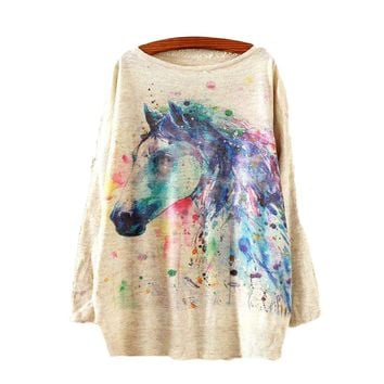 Watercolor Horse Printed Knitted Long Sleeve