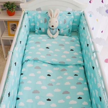 100% Teal, Cotton Girls Or Boys Baby Bedding Set, 4-10 Pcs