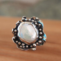 Bowl Ring, Designer Pearl Ring, Granulated Ring, Sterling Silver White Pearl Ring