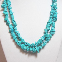 "Turquoise Necklace Wear It 3 Different Ways 34"" Long Turquoise Chunky Necklace Chip Beads"