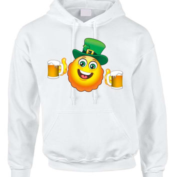 Irish smiling Emoji ST patricks women hooded sweatshirt