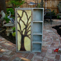 Rustic Furniture - Wood Shelf - Oak Tree Cabinet - Artistic Furniture - Storage Shelves -  French Country