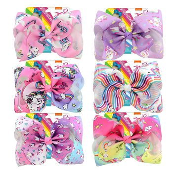 8 inch Giant Unicorn Hair Bows Alligator Clip DIY Metalic Printed Ribbon Knot Signature Gift Card Dance Party Hair Accessories