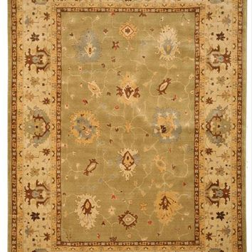 EORC Machine-Made Wool Green Traditional Oriental Katabagh Rug