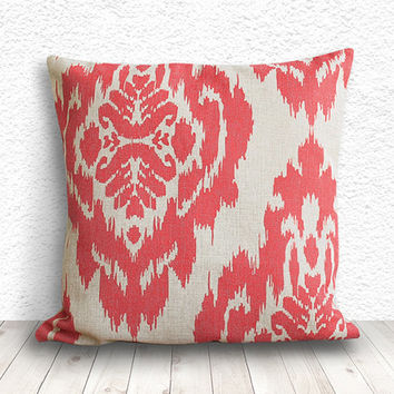 Ikat Pillow Cover, Pillow Cover, Coral Pillow Cover, Linen Pillow Cover 18x18 - Printed Ikat - 057