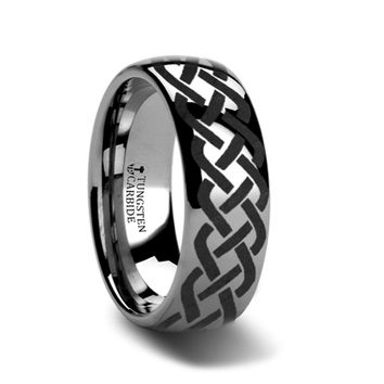 Copy of ADDISON Domed Tungsten Ring with Celtic Knot Design 8mm