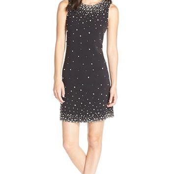 Women's Eliza J Embellished Crepe Shift Dress