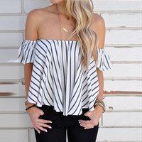 Off-Shoulder Stripped Top