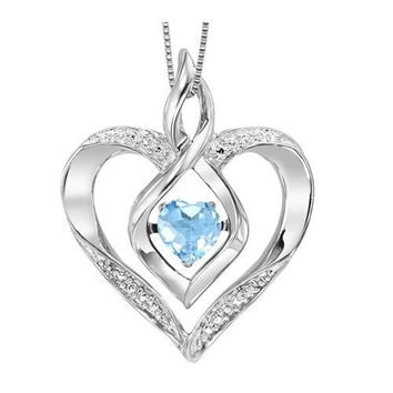 Sterling Silver Created Blue Topaz and Diamond Heart Shaped Necklace