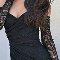 Black Sweetheart Neck Full Lace Off The Shoulder Bodycon Dress Fitted Mini Dress