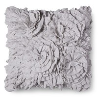 Xhilaration® Jersey Ruffle Decorative Pillow - Gray (Square)