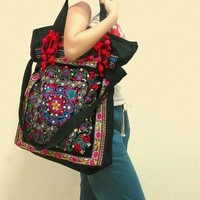 Flower Embroidered Tote Shoulder Message bag by miyabags on Etsy