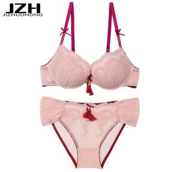 JZH 2018 New Arrival Women Bra Sets Sexy Embroidery Briefs Sets Deep V Push Up Intimates Sets Sexy Lace Three Quarters Underwear