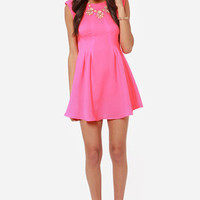 Glowing, Glowing, Gone Neon Pink Dress