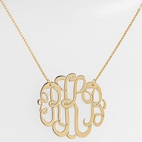 Women's Argento Vivo Personalized Large 3-Initial Letter Monogram Necklace