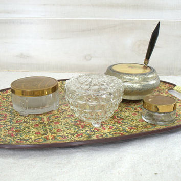 Mid Century French Floral Fiberboard Serving Tray with Handles, Paisley Decorative Vanity Tray