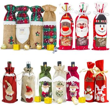 HOT Christmas Decorations For Home 2019 Wine Bottle Bag Cover Santa Claus Deer XMAS Kitchen Navidad Decor New Year Ornament