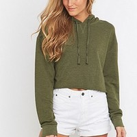 BDG Cropped Khaki Hoodie - Urban Outfitters