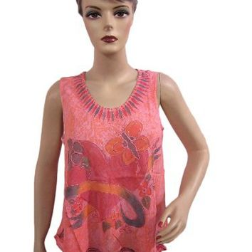 Women Peasant Tank Sleevless Blouse Pink Red Heart Printed Peasant Top Small Size | Mogul Interior