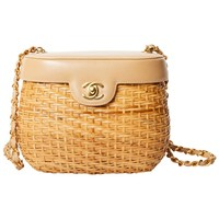 Vintage Chanel Lambskin and Straw Shoulder Bag with Gold Hardware