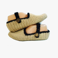 Crochet Slippers Black and Tan Handmade Knitted Slipper Socks Mary Jane Style Button Strap Adjustable , House Shoes, Gift for Women