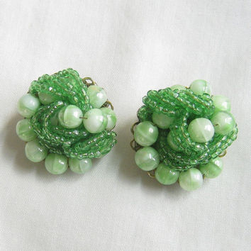 Vintage Lime Green Art Beads and Seed Beads Hand Wired Earrings signed MARVELLA