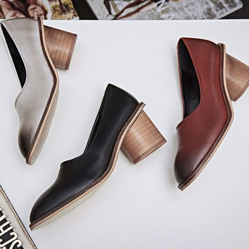 Summer Casual High Heel Leather Shoes [4919936132]