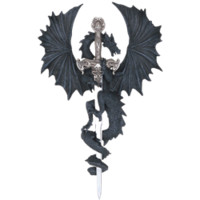 Black Dragon With Sword Wall Plaque - 71221 by Dark Knight Armoury
