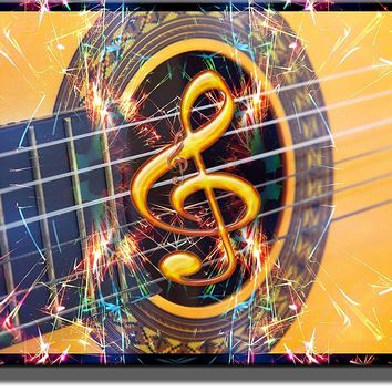 Guitar, Music Note, and Sparklers Picture on Acrylic , Wall Art Decor Ready to Hang!.