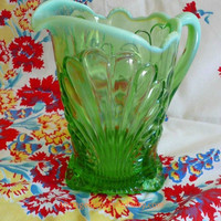 Opalescent Glass Pitcher in Toyoko Pattern Jefferson Glass