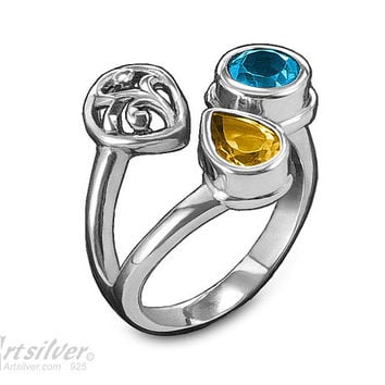Yellow Citrine Ring. Silver Floral Ring with November Birthstone and Blue Topaz Gemstone - KS045s