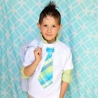 Easter Children Clothing, Spring Wedding, Ring Bearer, Plaid Personalized Short Sleeve Tie T-Shirt. Any Tie & Monogrammed Embroidery Prop