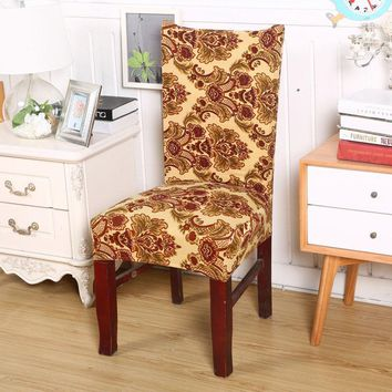 1pc elastic spandex polyester universal chair cover baroque vintage flowers pattern cozy home dining chair seat cover textiles