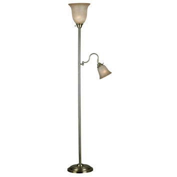 Kenroy Home 20989VB Horton Vintage Brass Torchiere Floor Lamp