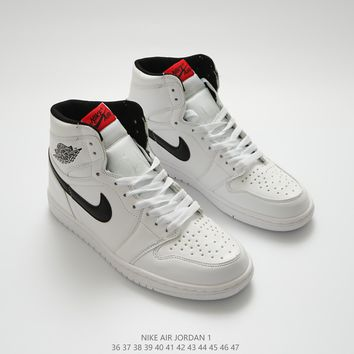 Air jordan 1 sports shoes white-black