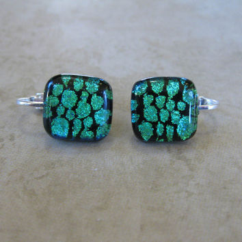 Post Clip On Earrings,  Dichroic Green Clip Earrings, Earing Jewelry  - Stoney - 1565 -2