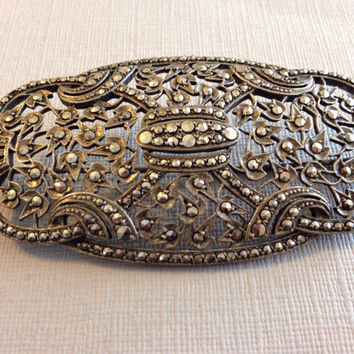 Vintage Silver Marcasite Pin