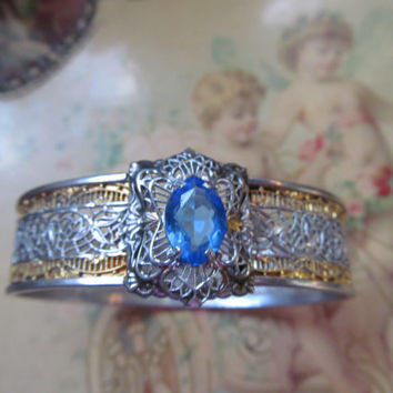 Stunning Edwardian Bracelet Art Deco Filigree Blue Czech Glass Bracelet Edwardian Victorian Wedding Jewelry