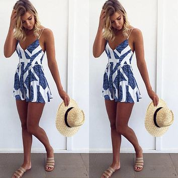 Sleeveless Summer Lace Up Jumpsuit Sexy Women Floral Printing Backless Club Wear Deep V Neck Evening Party Playsuit Clothes