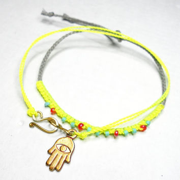 Neon Braided Friendship Bracelets neon yellow set