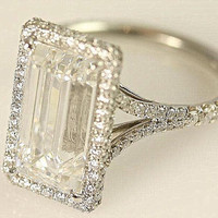 Stunning F/VVS2 - 1.50 carats total - Emerald Cut Diamond engagement ring - 14K white gold -